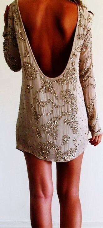 short dress new year's eve pailettes dress dress backless dress sparkles gold beautiful deep v back