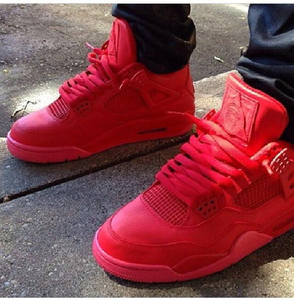 red sneakers nike sneakers shoes jordans jordans yeezy kayne west hightop jays streetstyle streetwear dope mens sneakers red sneakers jordans
