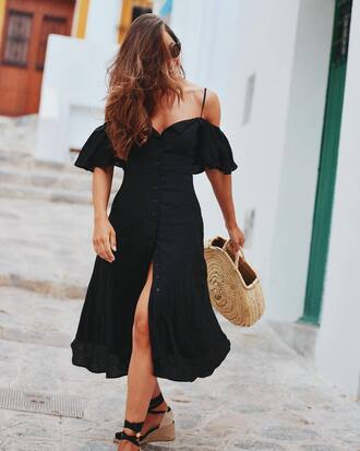 dress tumblr midi dress slit dress button up off the shoulder off the shoulder dress bag tote bag round tote
