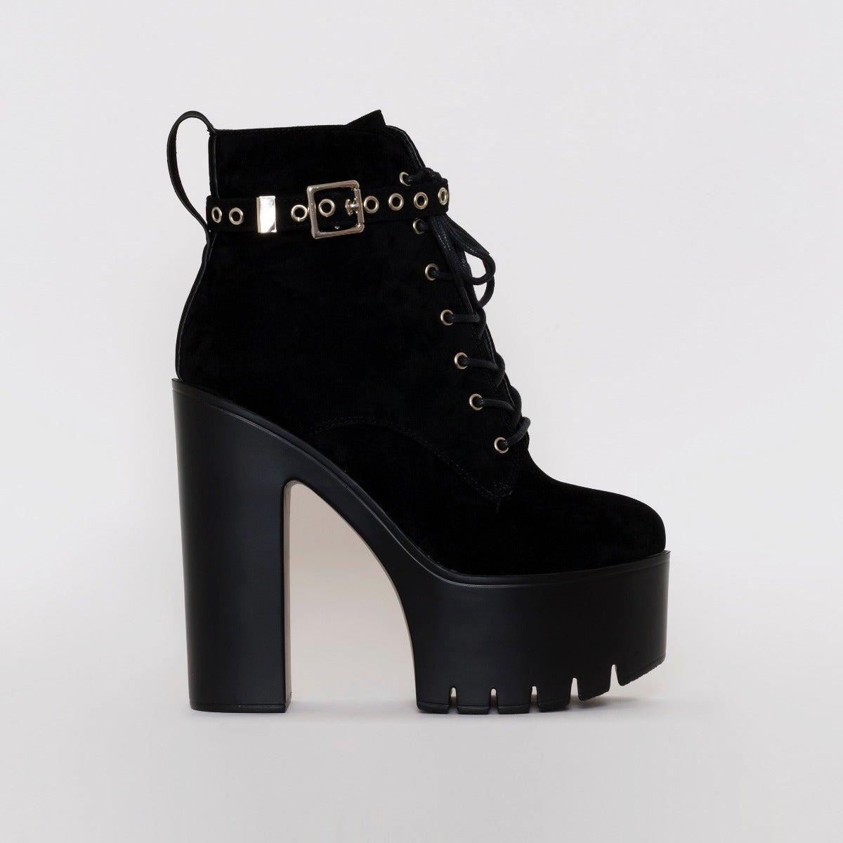 Grime Black Suede Chunky Lace Up Ankle Boots
