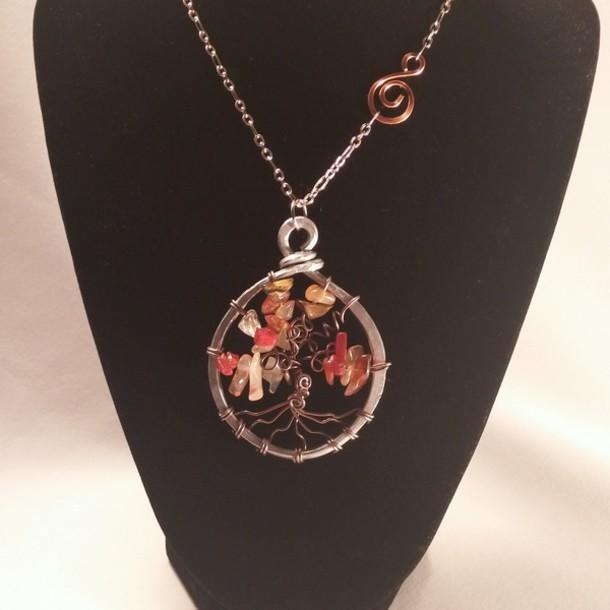 jewels carnelian pendant tree of life necklace handmade