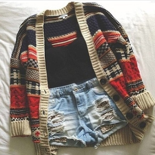 coat black crop top hot hot hot winter outfits cozy reminds me of snuggles indie blue red brown inlove pardi cardi aztec tribal cardigan denim shorts light blue wasted youth shorts