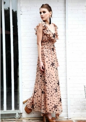 dress,nude,v neck dress,chiffon,leopard print