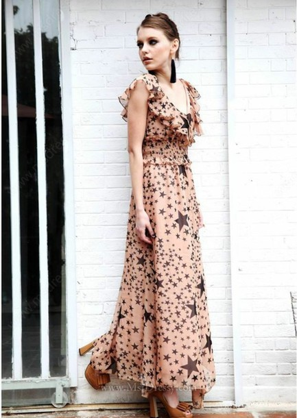 dress nude v neck dress chiffon leopard print