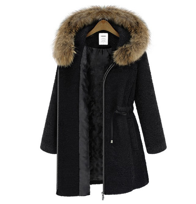 Ladies Wool Hooded Faux Fur Anorak Parka Cotton Padded Winter Coat ...