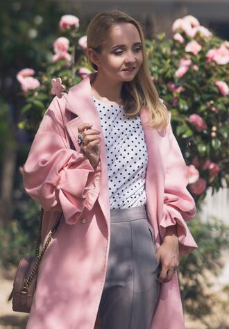 my blonde gal blogger coat bag top pants jewels pink coat spring outfits polka dots