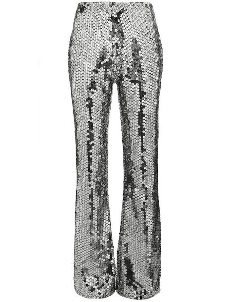 Filles à papa women spandex embellished silver grey metallic pants