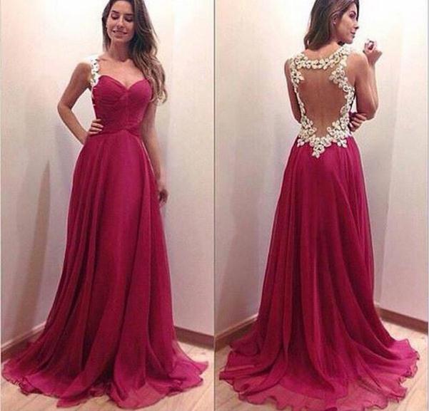 Custom made a line sweetheart neckline dark red backless prom dresses