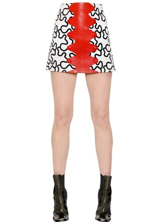 skirt leather cotton white black red