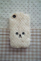 phone cover,cute,teddy,white