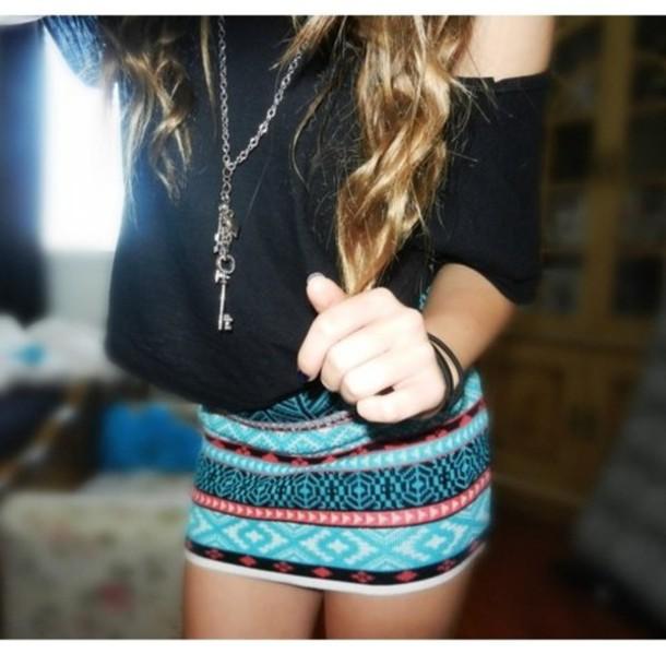 aztec skirt printed skirt
