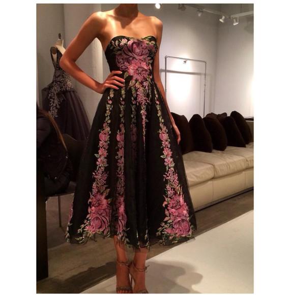 little black dress floral dress haute couture marchesa