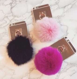 phone cover light pink pom pom beanie iphone cover iphone case iphone 6 case fur keychain faux fur fur phone spring summer pink white fuzzy ball keychain