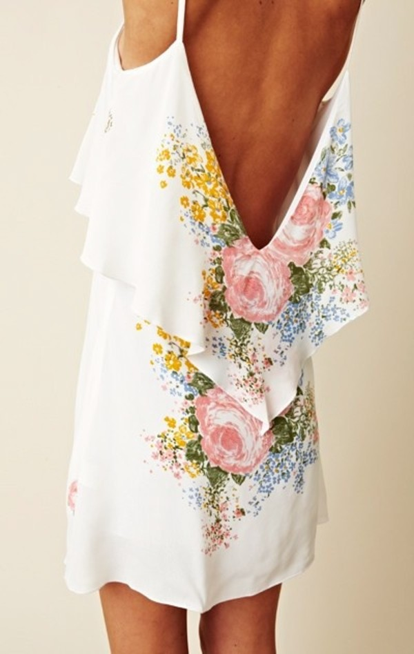 Dress: white, backless, floral, pretty, white dress, backless ...