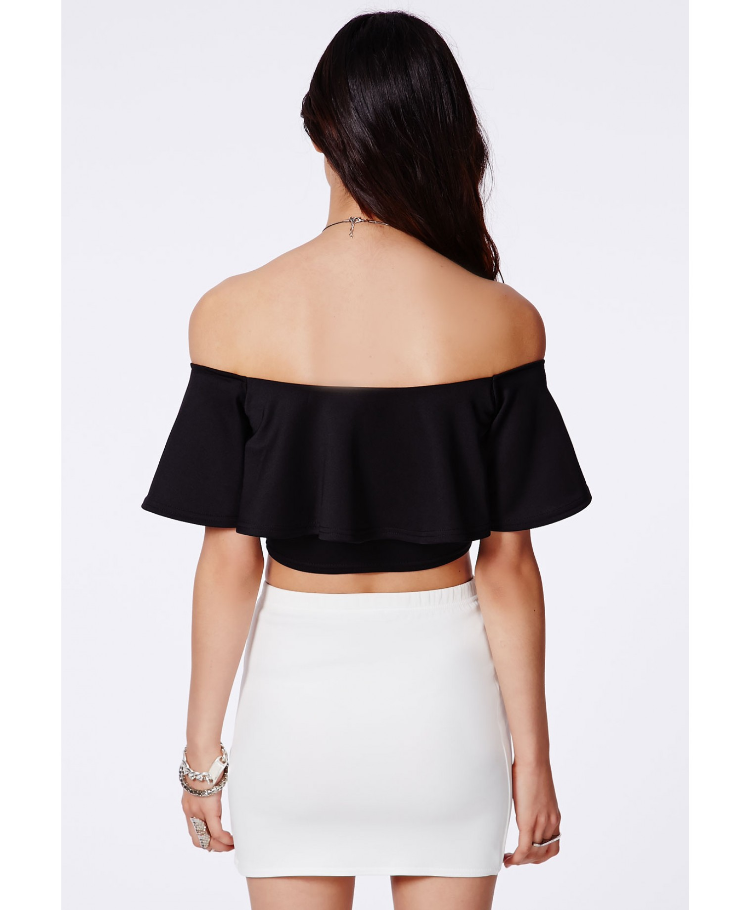 Missguided - Sirinda Black Bardot Frill Crop Top
