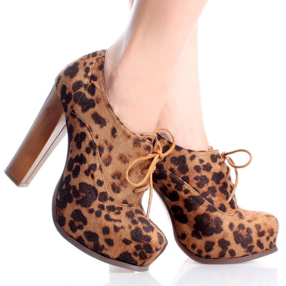 Brown leopard suede lace up oxford women chunky heel platform booties size 5 5