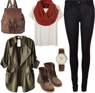 jacket jewels bag scarf leather backpack army green jacket shoes brown red white shut shirt pants leggings jeggings army green