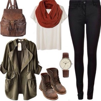 jewels scarf jacket bag leather backpack army green jacket leggings shoes red shirt pants brown white shut jeggings military green scarf red
