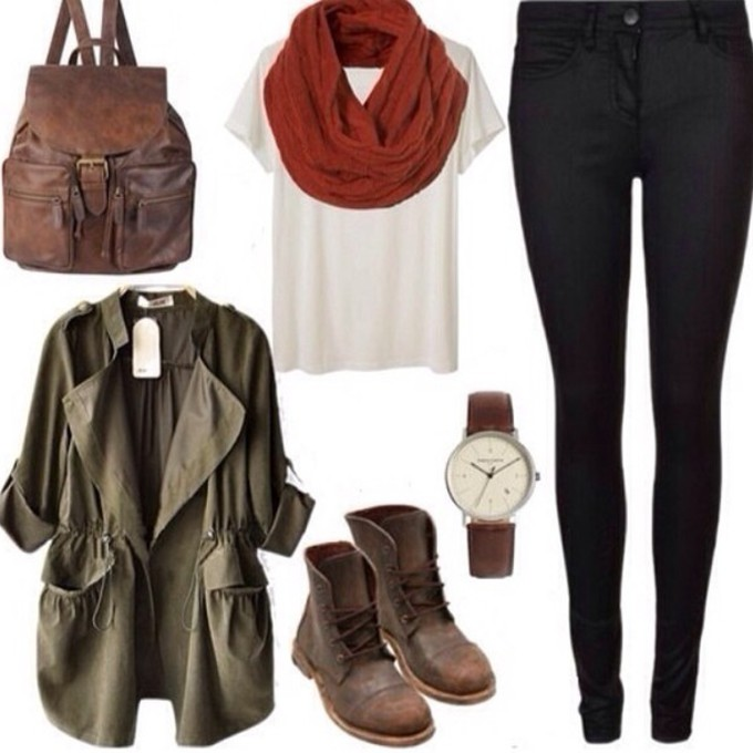 jewels scarf bag jacket leather backpack army green jacket red leggings brown shoes shirt pants white shut jeggings military green scarf red