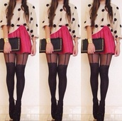 sweater,the look,pink skirt,dotted sweater