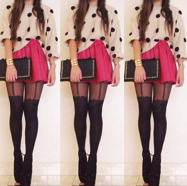 sweater the look pink skirt dotted sweater