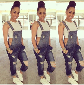 jumpsuit blue ripped jeans overalls denim overalls