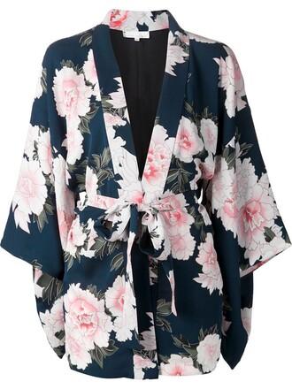kimono floral blue top