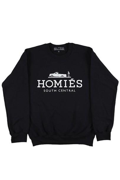 sweater south central homies homies sweatshirt homies black t shirt ballenciaga paris blouse shirt black white ballinciaga harlem ballin london avenue