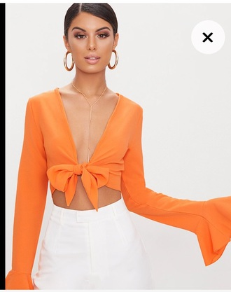 blouse chiffon orange deep v dress flare cropped crop tops