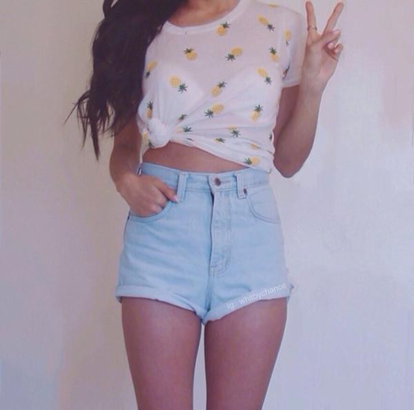 shorts High waisted shorts pineapple print shirt