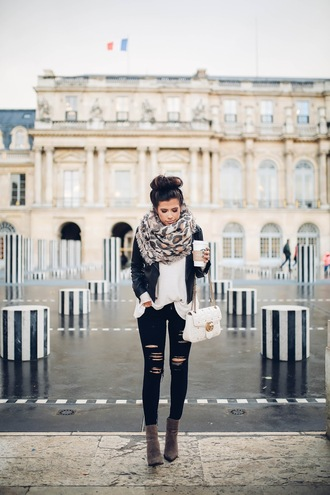 thesweetestthing blogger jacket top shoes scarf bag leather jacket white bag chain bag gucci bag grey boots black jeans