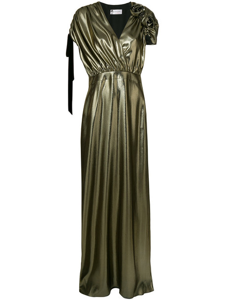 gown long metallic women silk grey dress