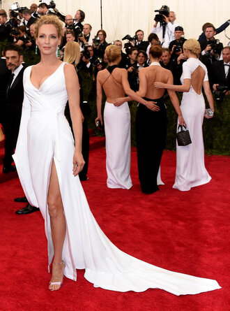 dress white dress slit dress wedding dress uma thurman red carpet met gala sandals one shoulder plunge v neck metgala2015