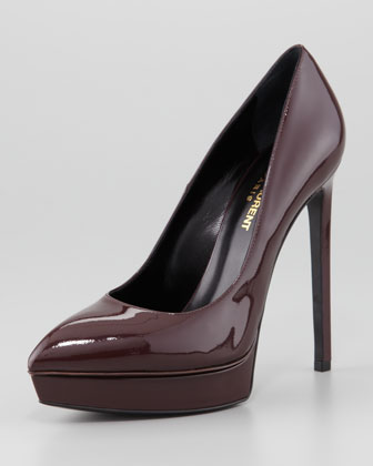 Saint Laurent Janis Patent Pointed-Toe Pump, Bordeaux - Neiman Marcus