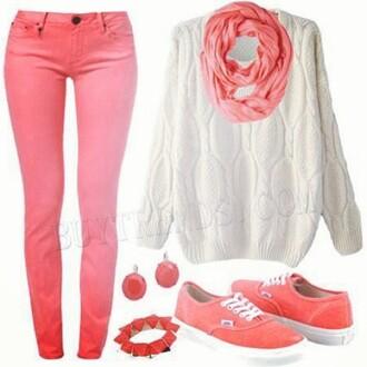 scarf pink pants skinny jeans cardigans infinity scarf oval vans sneakers aztek sweaters black and white