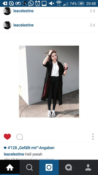 coat long coat black coat black oversized coat nike roshe run high waisted pants