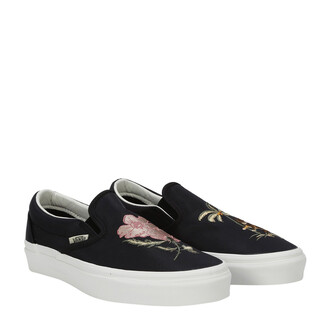 embroidered rose sneakers black shoes