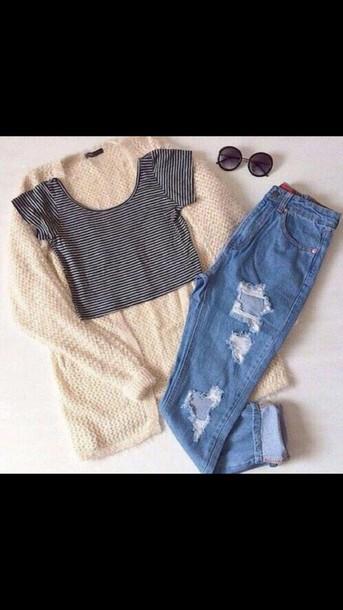 cardigan shirt jeans