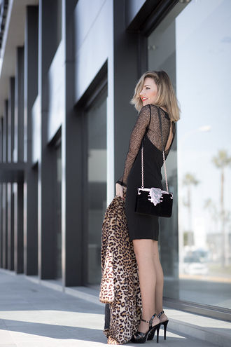 mi aventura con la moda blogger dress coat shoes bag shoulder bag clutch animal print black dress high heel sandals sandals streetstyle leopard print steve madden river island christmas elegant dress feminine comfy new year's eve