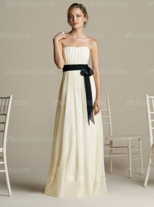 dress bridesmaid white bridesmaid dress party dress long dress black and white