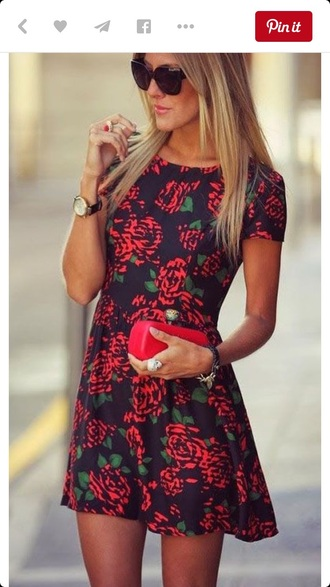 dress floral floral dress red red rose roses black black dress