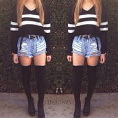 jeans,sweater,shoes,shorts,socks,top,black,white,trendy,striped shirt