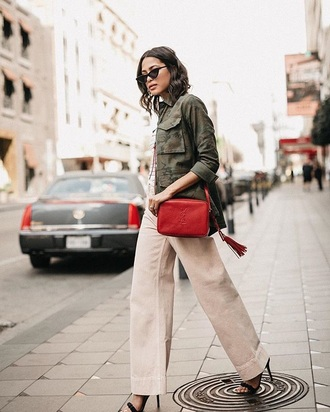 pants nude pants jacket sunglasses bag red bag wide-leg pants army green army green jacket green jacket
