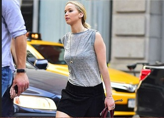 shirt jennifer lawrence isabel marant necklace black skirt jewels