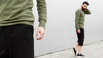 sweater long sleeves olive green black lookbook menswear mens sweater khaki fall outfits
