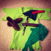 hat,green,peter pan,disney,hero,red,feathers,t-shirt,shirt,shoes,halloween costume,costume,pants