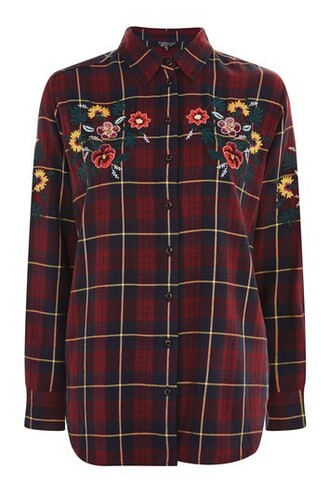 shirt checked shirt embroidered floral navy blue top