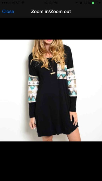 dress black long sleeves sequins sparky aztec tribal pattern