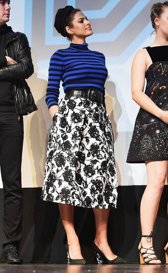 skirt midi skirt spring spring outfits top turtleneck stripes floral skirt eva mendes