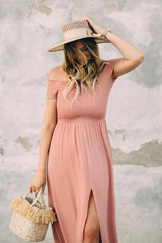 dress hat tumblr maxi dress slit dress pink dress off the shoulder off the shoulder dress sun hat bag basket bag